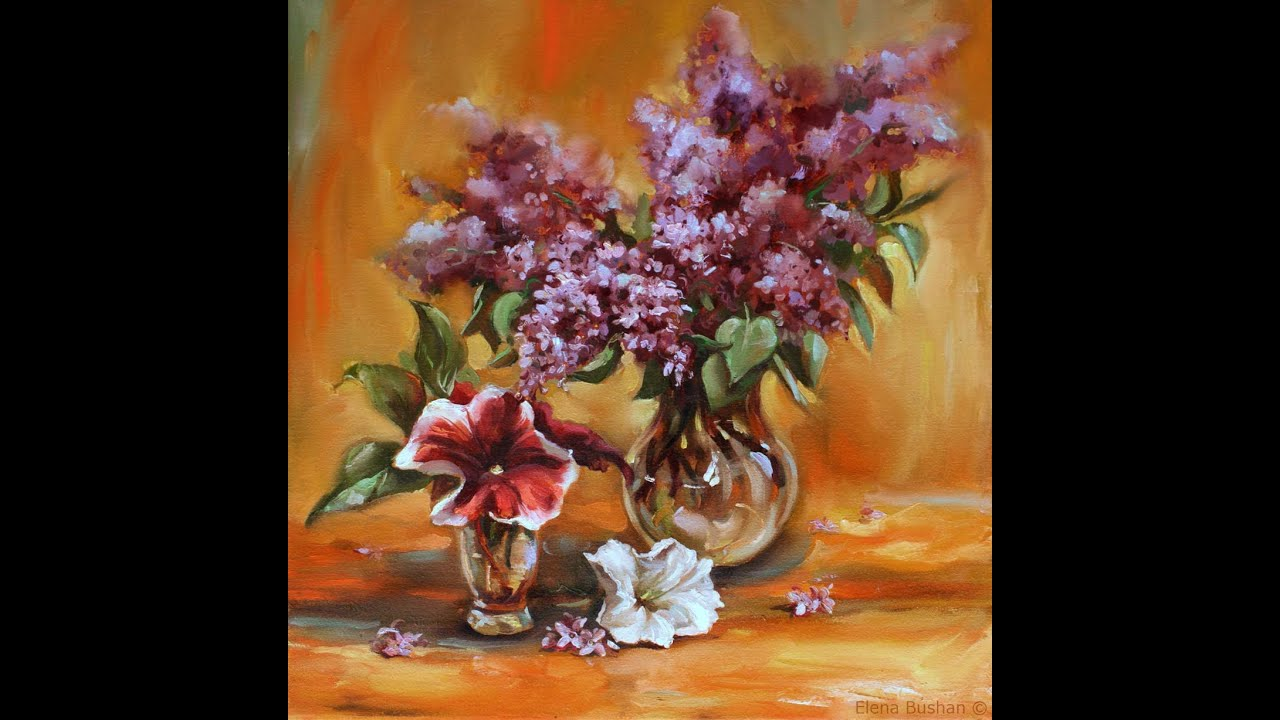 Lilacs petunias painting youtube for How to paint flowers with oil paint
