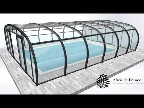 Abris de piscine haut video de fonctionnement