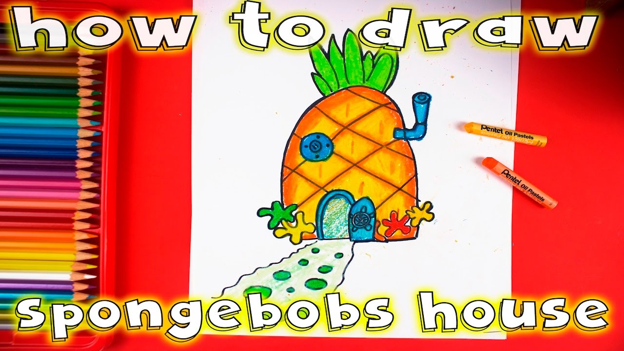How to draw and color spongebob squarepants pineapple house