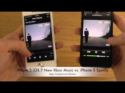 iPhone 5 iOS 7 New Xbox Music vs. iPhone 5 Spotify - App Comparison Review