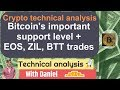 BTC - Bitcoin Technical Analysis - Bitcoin's support + BTT EOS and ZIL trades.
