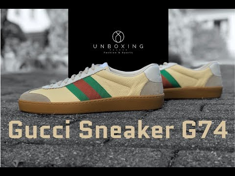 GUCCI Sneaker G74 Leather/Web 'Creme' | UNBOXING & ON FEET | luxury shoes | 2018