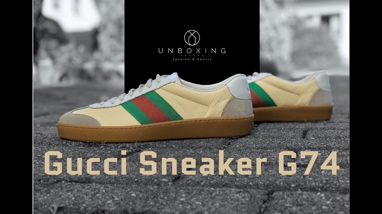 cdbdc079c00 GUCCI Sneaker G74 Leather Web  Creme