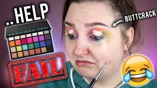 HUGE FAIL! | USING EVERY EYESHADOW IN THE PALETTE CHALLENGE | SEPHORA PRO EDITORIAL