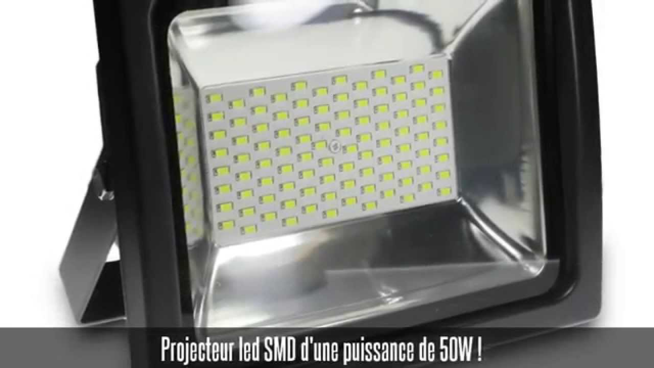 projecteur led smd 50w ip65 blanc froid youtube. Black Bedroom Furniture Sets. Home Design Ideas
