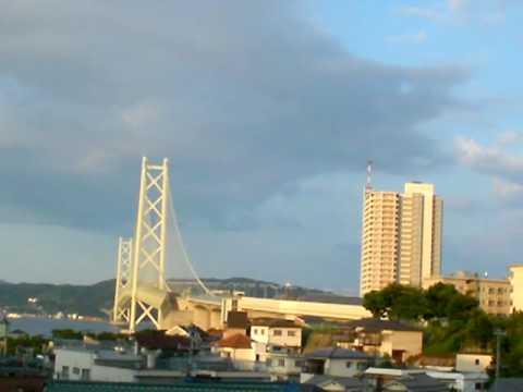 09.7.31 朝の明石海峡大橋(Pearl Bridge)付近