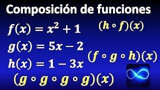 Composición de dos, tres y cuatro funciones, paso a paso, método fácil