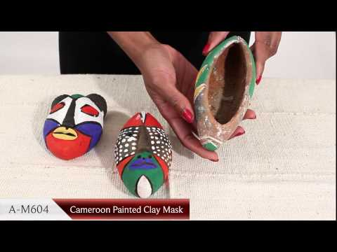 African Art - Cameroon Painted Clay Fertility Mask from Africa Imports