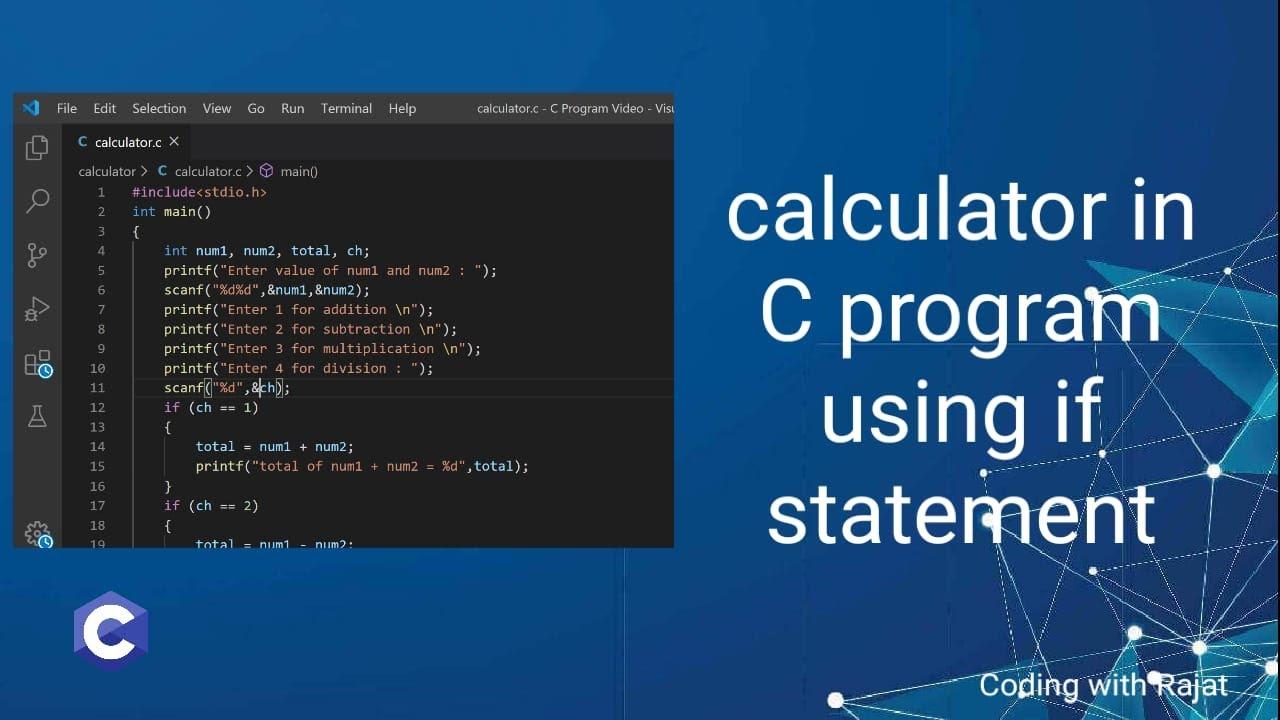 how to make calculator using c language in hindi