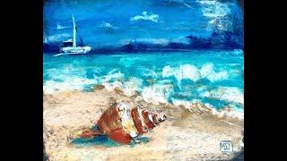 Рисуем ракушку на пляже сухой пастелью. Урок