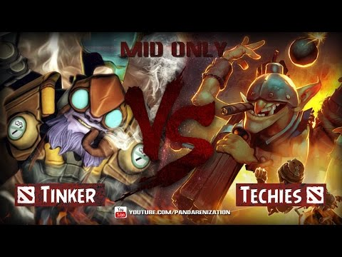 видео: miner vs tinker [Битва героев mid only] dota 2