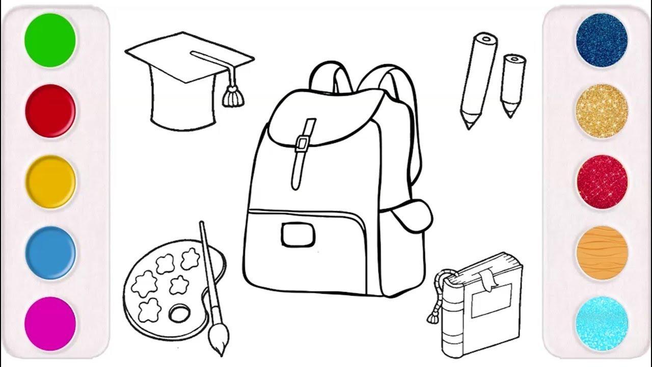661485971e4dc رسم وتلوين ادوات مدرسية للاطفال  لعب ومرح  drawing  coloring school  supplies for kids