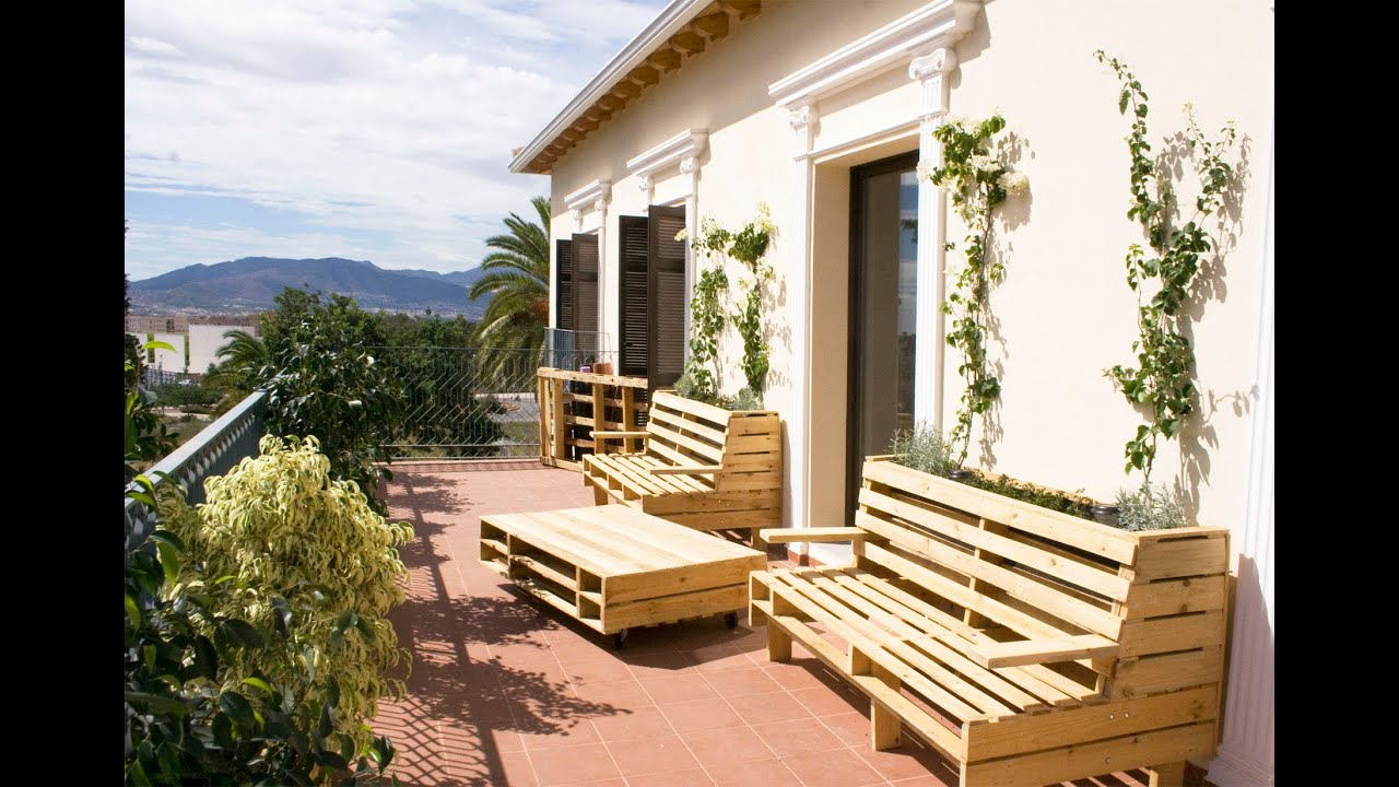 Pallet project bancos jardineras y mesa m vil youtube - Tipos de jardineras ...