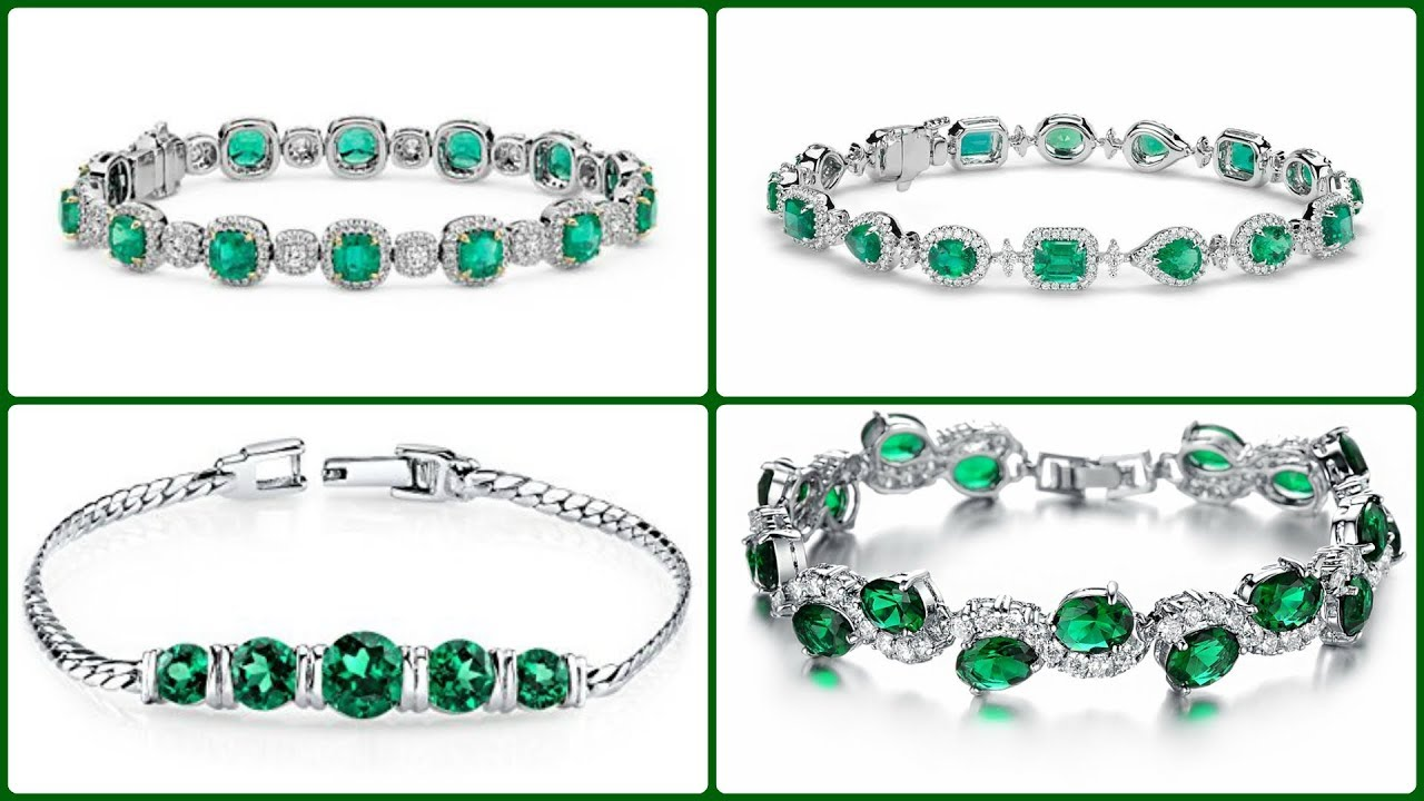 Well-liked Classic Look Emerald Stone Bracelet Design for Girls || Emerald  MK37