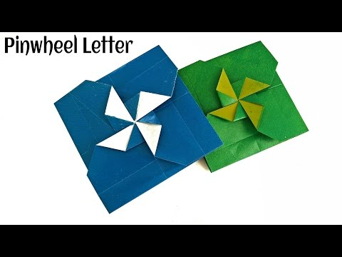 "Origami Paper - "" Secret Pinwheel letter/Card""  - Very Easy to make !!"