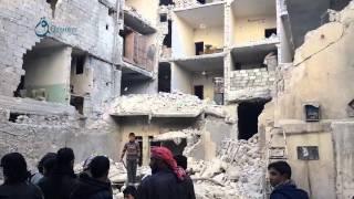 وكالة قاسيون  آثار الدمار الذي خلفه قصف الطيران الروسي على حي الصالحين بحلب 7-12-2015