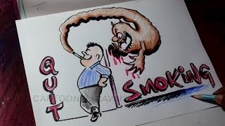 How to Draw No Smoking / Quit Smoking Poster Drawing