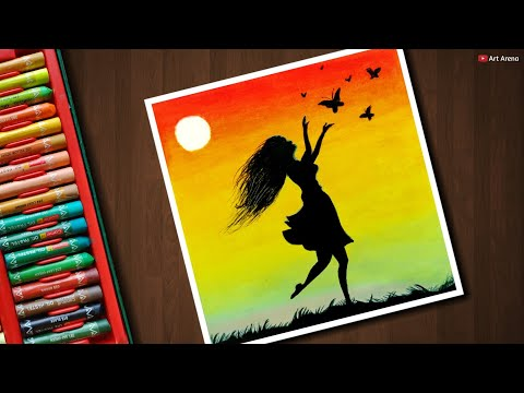 Girl with Butterfly scenery drawing for beginners with Oil Pastels