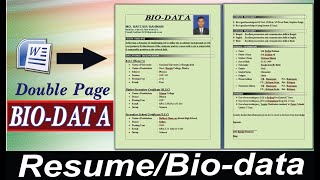 How to Make Resume/CV in MS Word। How write a Resume, Bio-data,CV । Resume Writing System