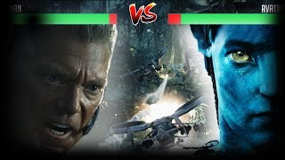 Avatar vs Human with HP Bar & Game Simulation Effects | Jake Sully vs Colonel Miles Quaritch