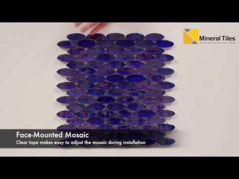 Iridescent Pool Glass Tile Cobalt Oval - 120KELUPR21404