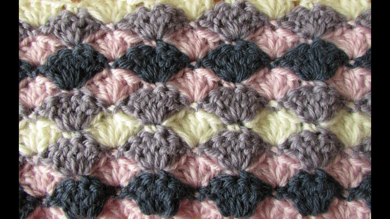 VERY EASY crochet shell stitch blanket - crochet blanket ...