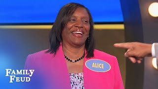 LOOK OUT! Alice and Steve Harvey GO AT IT! | Family Feud