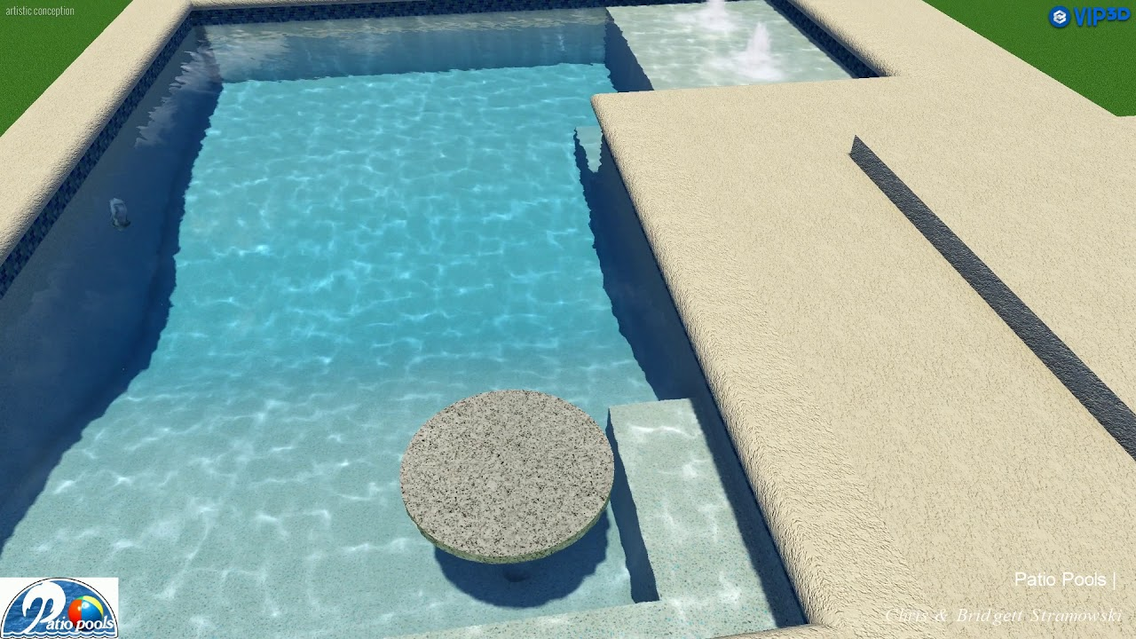 L Shaped Swimming Pool With Conversation Pit Sun Shelf By Patio Pools Youtube