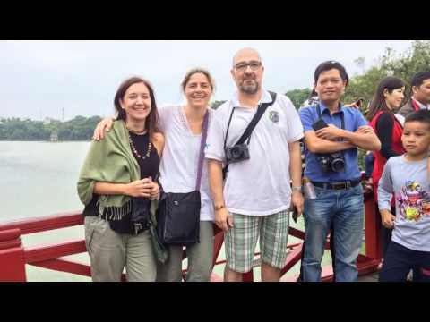 Hanoi tour from Hai Phong, Ms. Claudia with friends in Hanoi