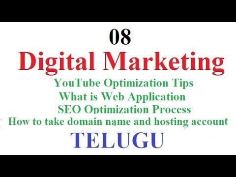 Digital Marketing Class 08 Telugu   YouTube Optimization Tips   How to take Domain name