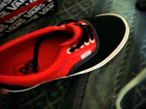 New Vans Era Black Red Canvas - YouTube df56fbff82