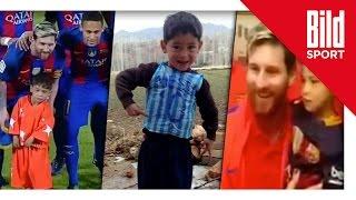 Junge mit Plastiktüten-Trikot | Messi trifft seinen größten Fan