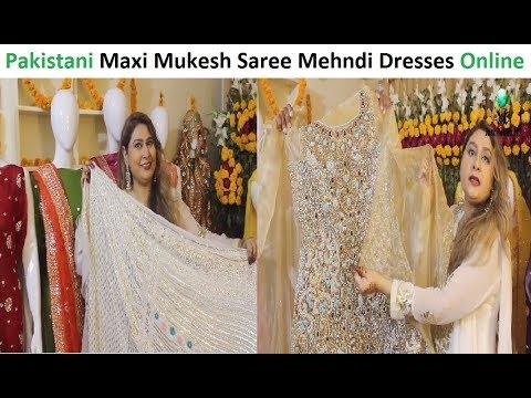Pakistani Mukesh Dresses Saree And Mehndi Mayo Gota Work Dresses Stylish  Bridal Maxi Sale Online