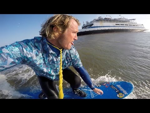 HOW TO SURF A FERRY SHIP BOW WAKE