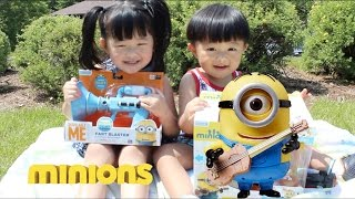 Kids playtime with Minion Stuart and Fart Blaster