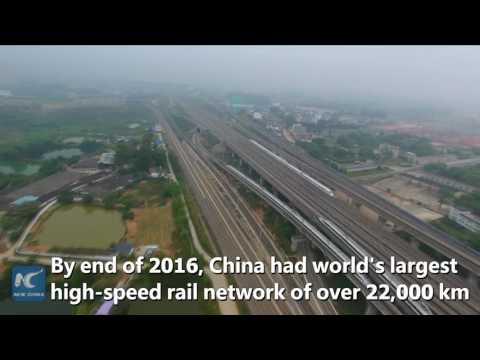 Aerial view of China's high-speed rail network