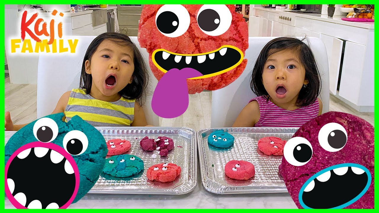 Emma and Kate makes Cookie Monsters DIY Fun Kids baking!!!