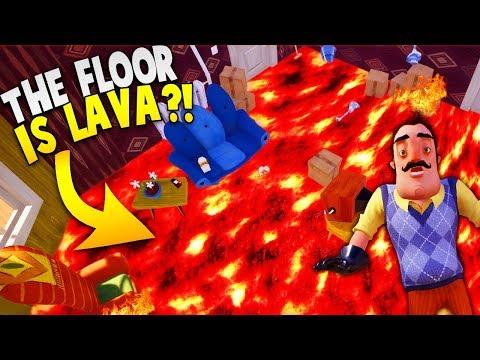 THE FLOOR IS LAVA IN HELLO NEIGHBOR!   Hello Neighbor The Floor Is Lava Challenge Gameplay