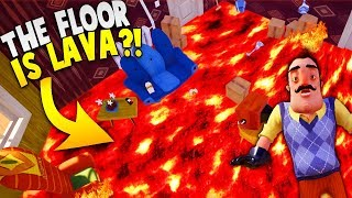 THE FLOOR IS LAVA IN HELLO NEIGHBOR! | Hello Neighbor The Floor Is Lava Challenge Gameplay