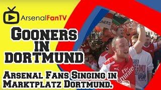 Arsenal Fans Singing at Marktplatz Dortmund Ahead of The Game