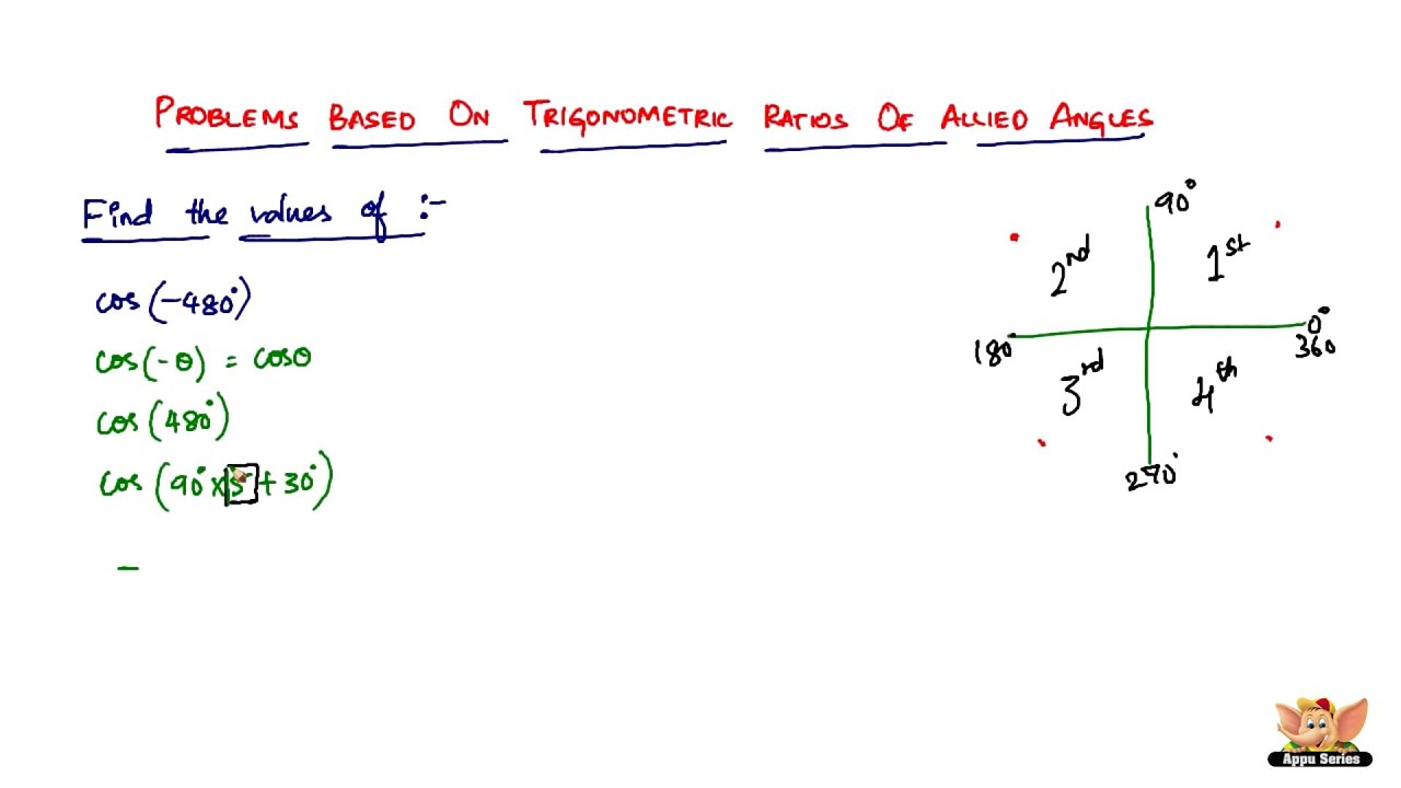 How To Solve Problems Based On Trigonometric Ratios Of Allied Angles