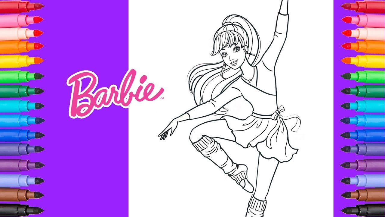Coloring Barbie Ballerina  Barbie Coloring Pages