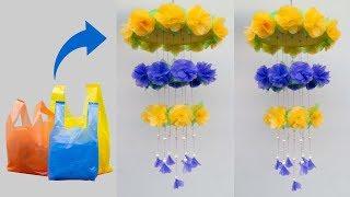 Bunga hias dari plastik kresek MUDAH BANGET ternyata   Bunga gantung plastik ! wall hanging craft
