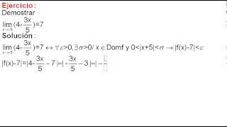 Límite de funciones ejercicio 5 demostración (por definición)