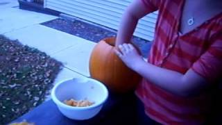 Madison's Pumpkin Guts Fight!!