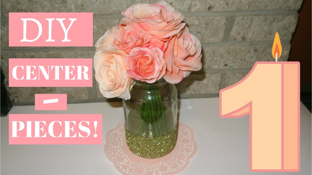 Diy Pink Peach Gold Floral Centerpieces 1st Birthday Youtube
