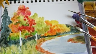How to Draw Autumn Scenery with Watercolor
