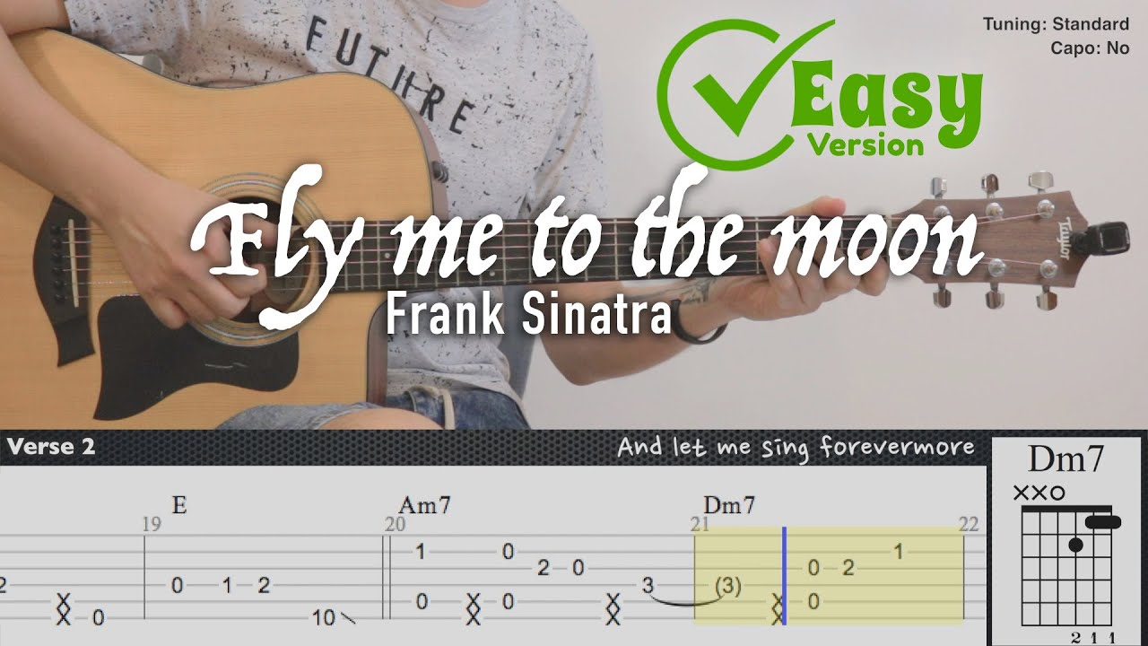 Fly me to the moon (Easy Version) - Frank Sinatra | Fingerstyle Guitar | TAB + Chords + Lyrics