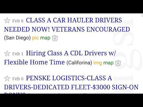 Craigslist truck driving jobs?