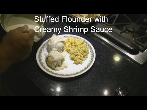 Stuffed Flounder With Creamy Shrimp Sauce